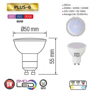 6W GU10 3000K warmweiss LED Leuchtmittel - PLUS-6