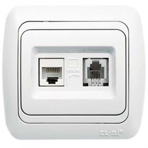 Data Socket Outlet(Cat6)+Numeris Tel.Socket Outlet