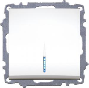 WECHSELSCHALTER MIT LED (EINSATZ + WIPPE) ZENA WEISS