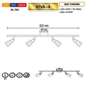 HL746 4X40W MATCHRM/WHITE G9 220-240V CEILING LMP