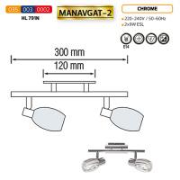 HL791N 2X9W CHROME E14 220-240V CEILING LAMP