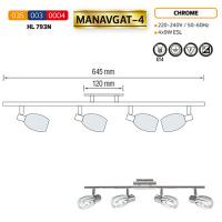 HL793N 4X9W CHROME E14 220-240V CEILING LAMP