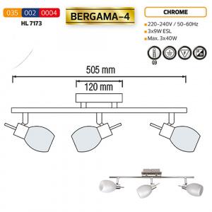 HL7173 3X40W CHROME G9 220-240V CEILING LAMP