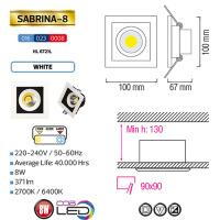 SABRINA-8 - Einbaustrahler - 8W Weiss 2700K COB LED Einbauspot