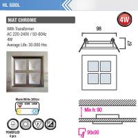 4LED 2700K Warmweiss Mattchrom Power LED Eeinbauspot - HL680L