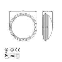 E27 Schwarz Feuchtraum Armatur Deckenleuchte IP65 - AQUA