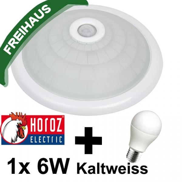 360° Sensor Deckenlampe mit Bewegungsmelder 1x 6W LED Kaltweiss 6400K