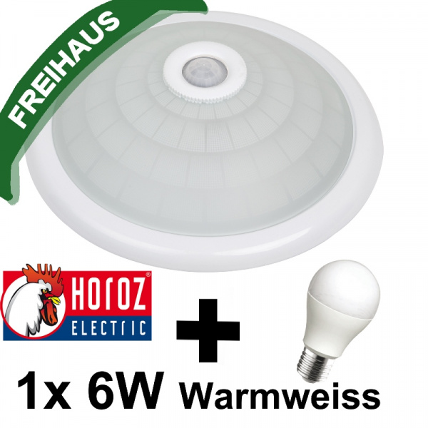 360° Sensor Deckenlampe mit Bewegungsmelder 1x 6W LED Warmweiss 3000K