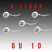 5 Stück HL551 - GU10 Fassung Lampenfassung Sockel Keramik Halogen LED Strahler 230V