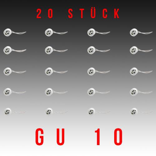 20 Stück HL551 - GU10 Fassung Lampenfassung Sockel Keramik Halogen LED Strahler 230V