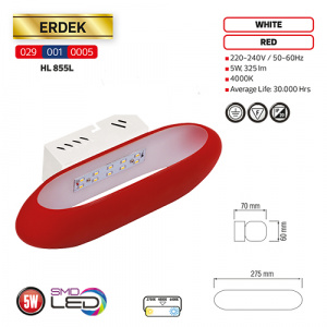 5W 4000K Rot LED Dekoleuchte Wandleuchte Nachtleuchte - ERDEK