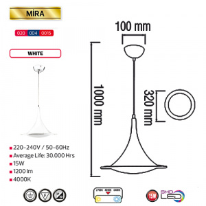 15W Weiss 4000K LED Pendelleuchte Pendellampe - MIRA