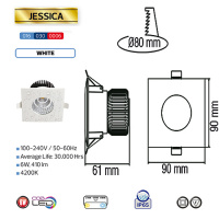 6W 4200K Naturweiss IP65 LED Einbaustrahler Feuchtraum - JESSICA