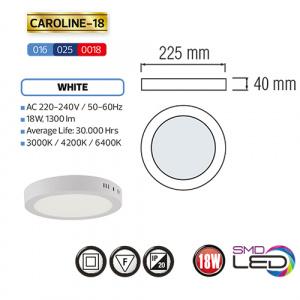 CAROLINE-18 LED Aufputz Panel Deckenpanel Rund 18W, warmweiss 3000K