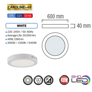 CAROLINE-48 LED Aufputz Panel Deckenpanel Rund 48W,...