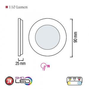 Slim-3 3W 6400K Ultraslim LED Panel Einbaustrahler Deckenleuchte Leuchte
