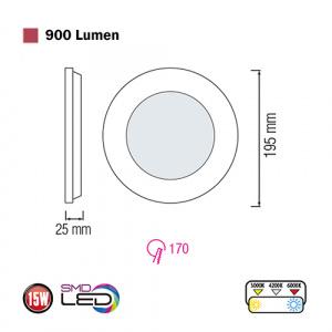 Slim-15 15W 3000K Ultraslim LED Panel Einbaustrahler Deckenleuchte Leuchte