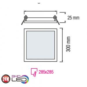 Slim / Sq-24 24W 4200K Ultraslim LED Panel Einbaustrahler Deckenleuchte Leuchte