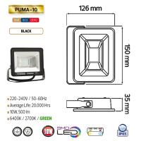 10W Schwarz 6400K LED Projektor Fluter Strahler - PUMA-10