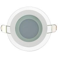 CLARA-6 6W Glas Design LED Panel Einbaustrahler Deckenleuchte Rund Lichtpanel, naturweiss 4200K