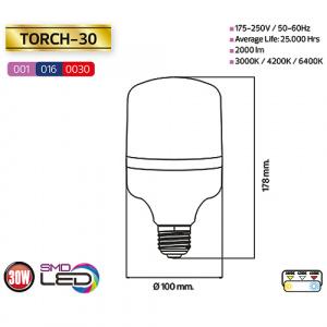 30W 6400K E27 Medium LED Leuchtmittel - TORCH-30
