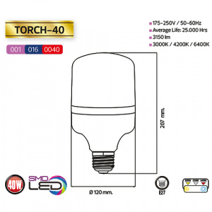 40W 6400K E27 Large LED Leuchtmittel - TORCH-40
