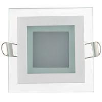 MARIA-6 6W Glas Design LED Panel Einbaustrahler Deckenleuchte Eckig Lichtpanel, warmweiss 3000K