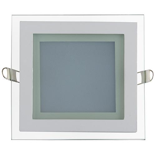 MARIA-12 12W Glas Design LED Panel Einbaustrahler Deckenleuchte Eckig Lichtpanel, kaltweiss 6400K