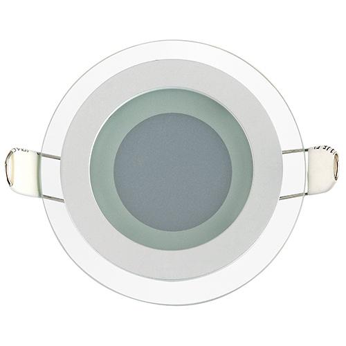 CLARA-6 6W Glas Design LED Panel Einbaustrahler Deckenleuchte Rund Lichtpanel, kaltweiss 6400K