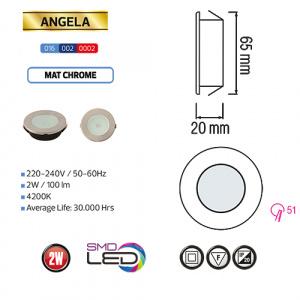 2W Matchrom 4200K Mini LED Slim Einbauleuchte - ANGELA