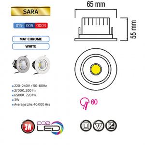 3W Weiss 2700K COB LED Einbaustrahler Einbauleuchte...