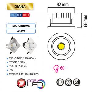 3W Matchrom 6500K COB LED Einbaustrahler Einbauleuchte Schwenkbar - DIANA