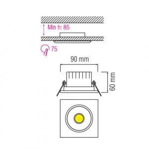 5W 6500K Matchrom COB LED Einbauspot Einbaustrahler -...