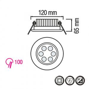 6X1W 2700K Matchrome LED Einbauspot Einbauleuchte - VERA-6