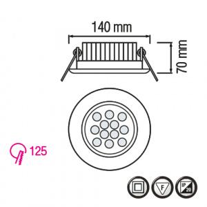 12X1W 2700K Matchrome LED Einbauspot Einbauleuchte - VERA-12