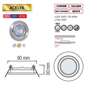 ACELYA Weiss GU5.3 Einbaustrahler Einbaurahmen