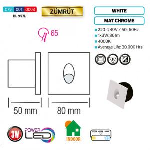 3W Weiss LED Treppenbeleuchtung Innenraum - ZÜMRÜT