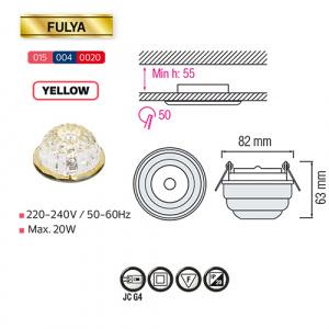FULYA Gelb G4 Kristall LED Aufbaulampe Aufbau Spot