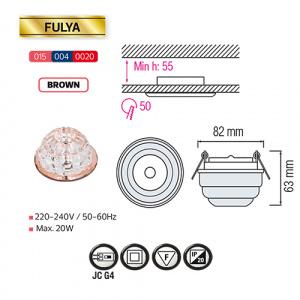 FULYA Braun G4 Kristall LED Aufbaulampe Aufbau Spot