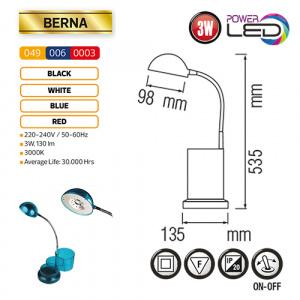 3W Blau LED Tischlampe Büroleuchte - BERNA