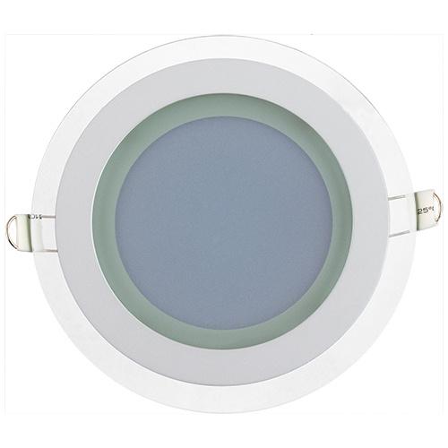 CLARA-12 12W Glas Design LED Panel Einbaustrahler Deckenleuchte Rund Lichtpanel, kaltweiss 6400K