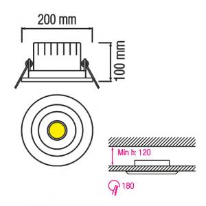 20W 4200K Matchrom COB LED Einbauspot - HELEN-20