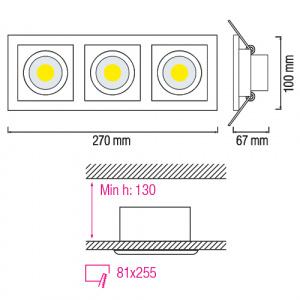 3x8W Weiss 2700K COB LED Einbauspot Einbaustrahler - SABRINA-24