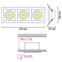3x8W Weiss 6400K COB LED Einbauspot Einbaustrahler - SABRINA-24