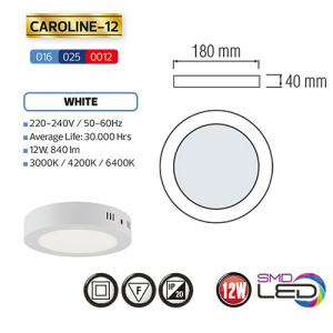 CAROLINE-12 LED Aufputz Panel Deckenpanel Rund 12W,...
