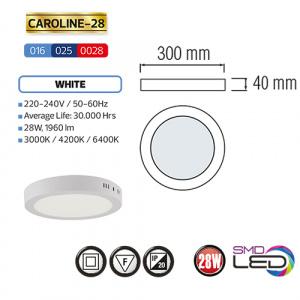 CAROLINE-28 LED Aufputz Panel Deckenpanel Rund 28W, kaltweiss 6000K