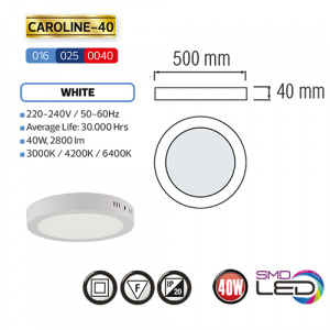 CAROLINE-40 LED Aufputz Panel Deckenpanel Rund 40W,...