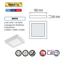ARINA-12 LED Aufputz Panel Deckenpanel Eckig 12W, warmweiss 3000K