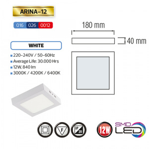 ARINA-12 LED Aufputz Panel Deckenpanel Eckig 12W,...