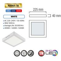 ARINA-18 LED Aufputz Panel Deckenpanel Eckig 18W, tageslicht 4200K